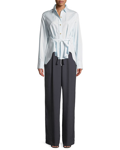 Front-Tie Long-Sleeve Button-Down Top and Matching Items