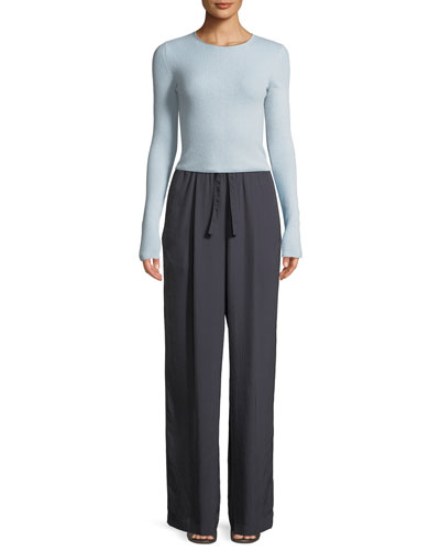 Ribbed Cashmere Long-Sleeve Crewneck Top and Matching Items