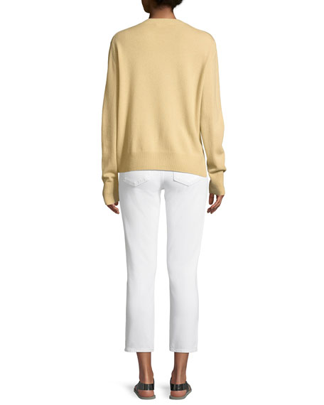 Cinched-Side Crewneck Cashmere Sweater