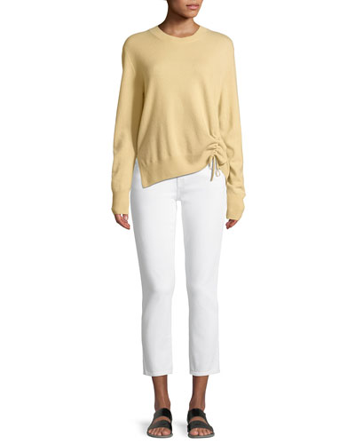 Cinched-Side Crewneck Cashmere Sweater and Matching Items