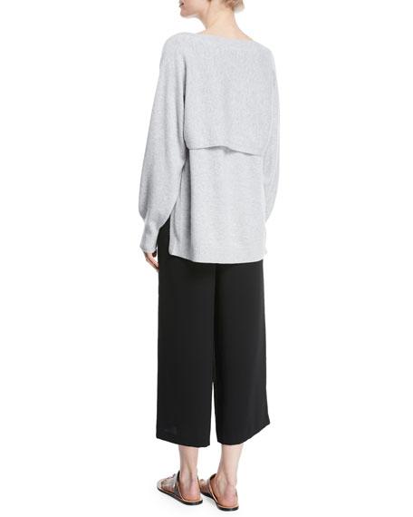 Side-Slit Boat-Neck Wool/Cashmere Sweater