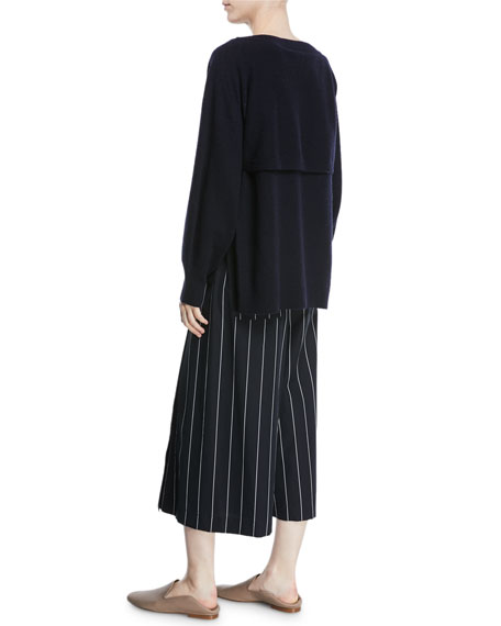 Side-Slit Boat-Neck Wool/Cashmere Sweater