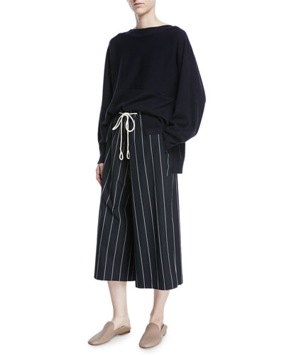 Striped Drawstring Side-Slit Culottes and Matching Items