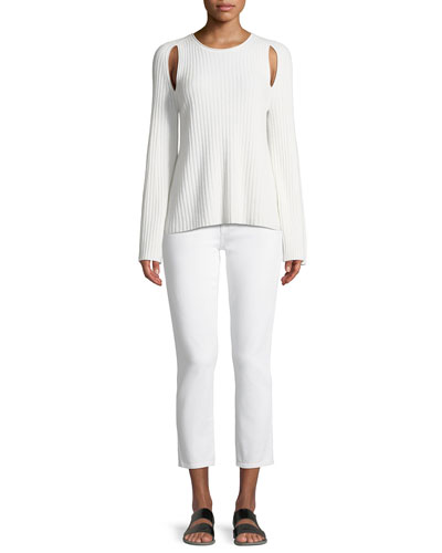 Slit-Shoulder Ribbed Cashmere Sweater and Matching Items