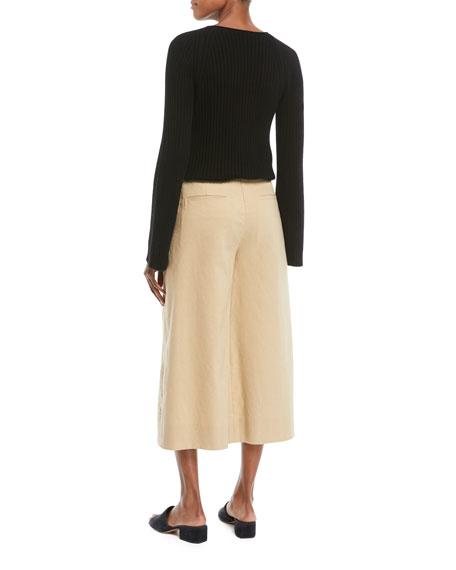 Slit-Shoulder Ribbed Cashmere Sweater