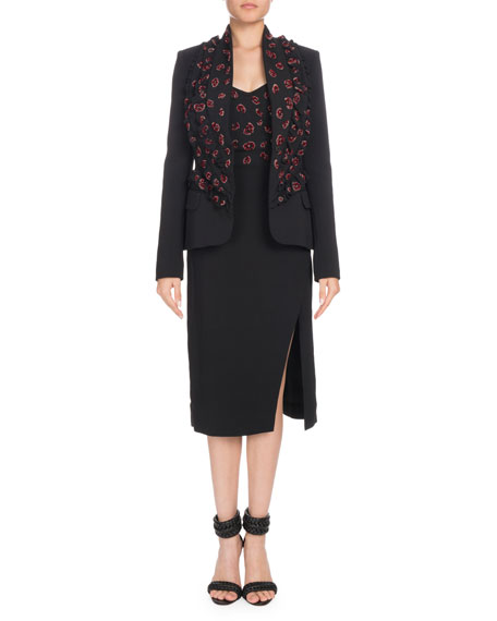 Ryder Double-Lapel Single-Breasted Beaded Crepe Jacket