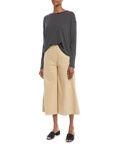High-Waist Stretch-Linen Ankle Culotte Pants and Matching Items