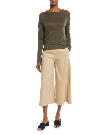 Raglan Crewneck Long-Sleeve Linen Top