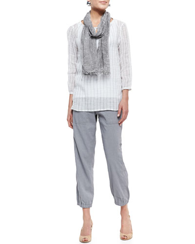 Windowpane Gauze Top, Slim Tank, Cargo Linen-Blend Ankle Pants & Tinted Encrusted Sparkle Scarf