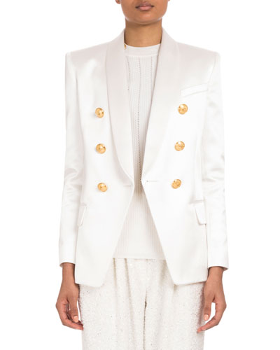 Double-Breasted Satin Jacket and Matching Items