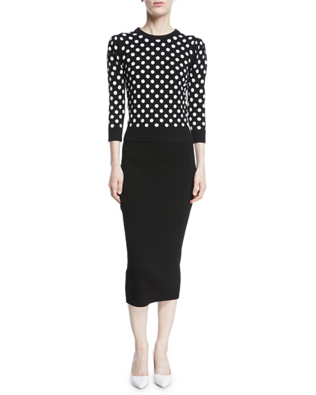 Starlet Dot-Intarsia Cashmere Crewneck 3/4-Sleeve Sweater