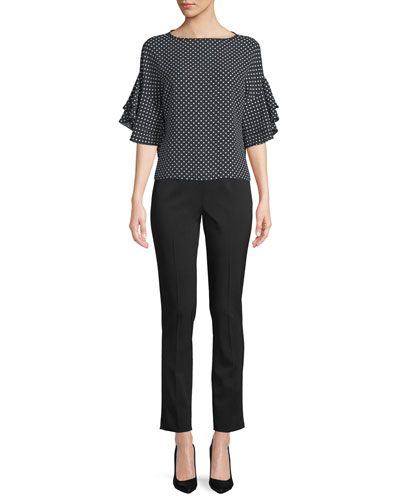 Side-Zip Stretch-Pebble Crepe Narrow-Leg Pants and Matching Items