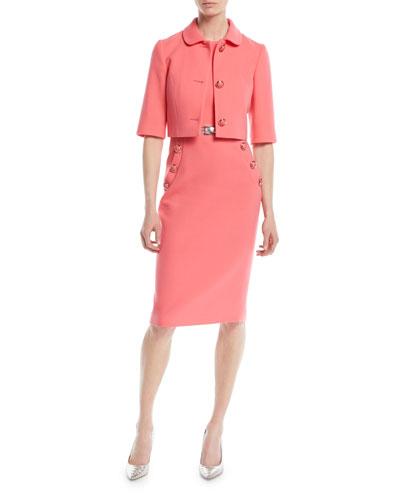 Sleeveless Stretch-Boucle Crepe Sheath Dress w/ Belt and Matching Items