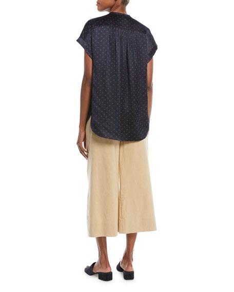 Dot-Print Foulard Silk Short-Sleeve Top