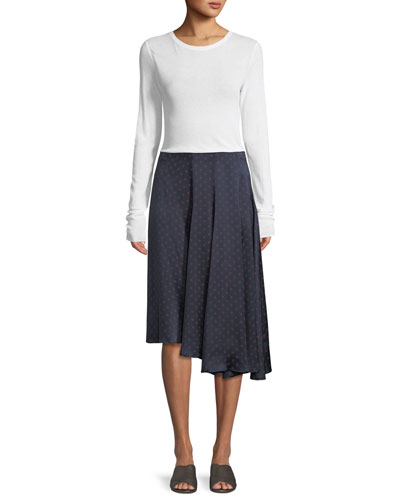 Crewneck Long-Sleeve Rib-Knit Top and Matching Items