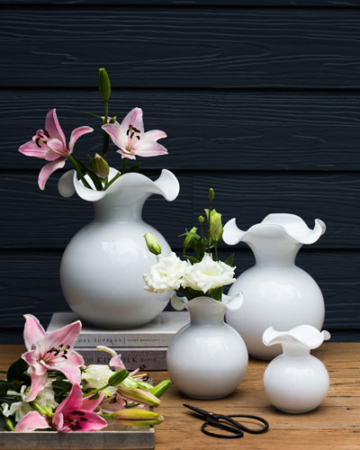 Hibiscus Glass Medium Fluted Vase, White and Matching Items