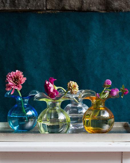 Hibiscus Glass Bud Vase, Aqua