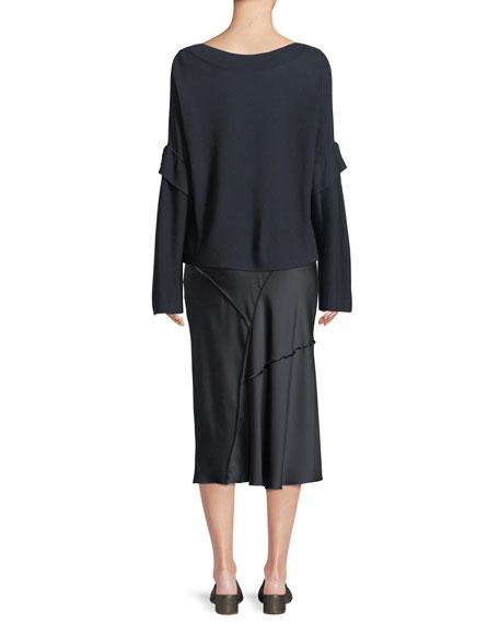 Tie-Sleeve Boat-Neck Wool Sweater Top