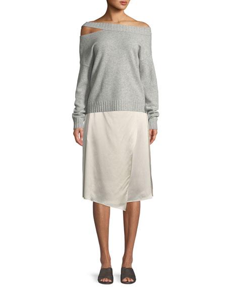 Off-the-Shoulder Slit Pullover Top