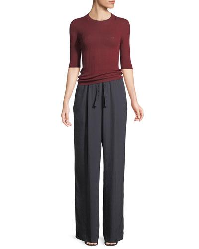 Shrunken Wool Crewneck 3/4-Sleeve Top and Matching Items