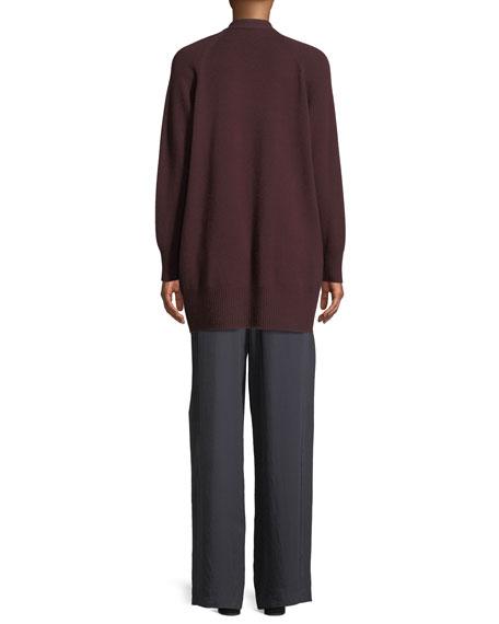 Long Cashmere Raglan-Sleeve Cardigan Sweater