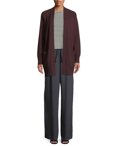 Long Cashmere Raglan-Sleeve Cardigan Sweater and Matching Items