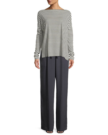 Striped Boat-Neck Long-Sleeve Top