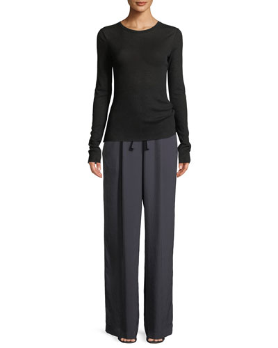 Crewneck Long-Sleeve Rib-Knit Top and Matching Items