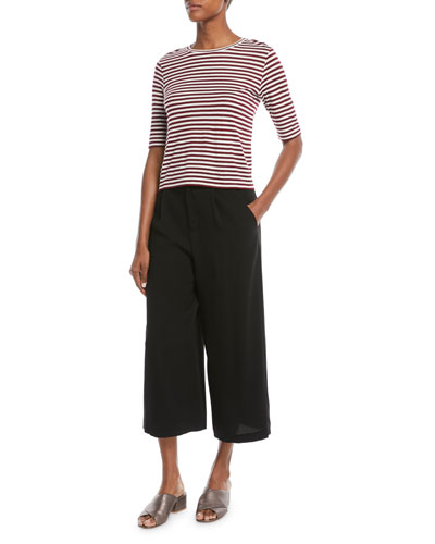 Midi Striped Silk/Viscose Cropped Tee and Matching Items