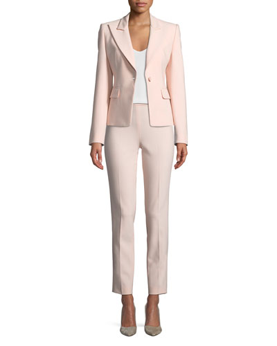 Peak-Lapels One-Button Pebble Crepe Blazer and Matching Items