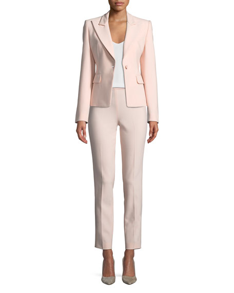 Peak-Lapels One-Button Pebble Crepe Blazer