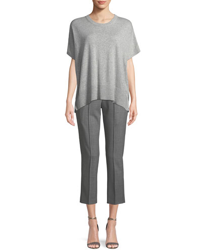 Tropical Stretch-Wool Straight-Leg Cropped Pull-On Pants and Matching Items