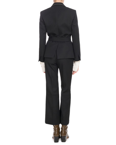 Double-Breasted Self-Belt Wool-Blend Jacket