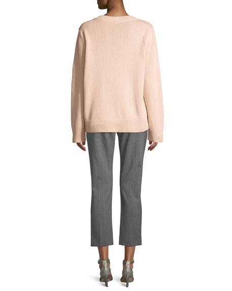 Crewneck Long-Sleeve Cashmere-Cotton Sweater