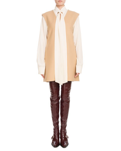 Long-Sleeve Open-Neck Silk Crepe de Chine Blouse w/ Ring Scarf  and Matching Items