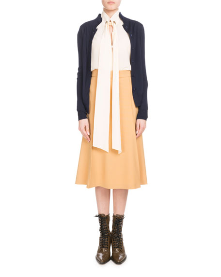 Scallop-Front Collared Cardigan