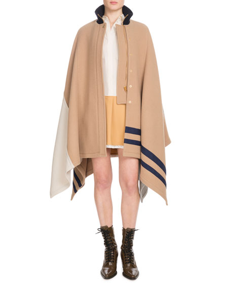 Button-Front Multicolor Iconic Soft Wool Oversized Cape