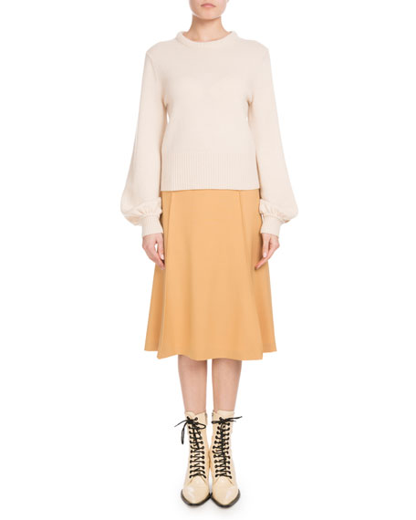 Iconic Cashmere Bubble-Sleeve Sweater