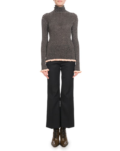 Turtleneck Long-Sleeve Metallic-Ribbed Knit Sweater and Matching Items