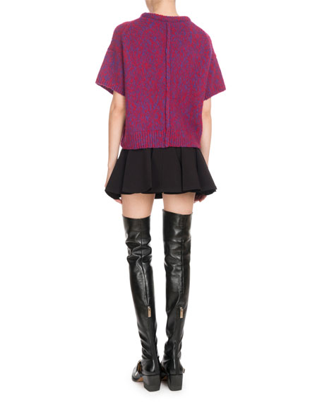 Short-Sleeve Marled Brushed Bicolor Wool-Cashmere Sweater