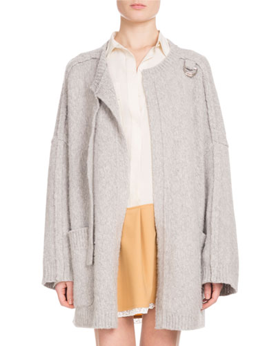 Long-Sleeve Open-Front Oversized Wool-Cashmere Cardigan  and Matching Items