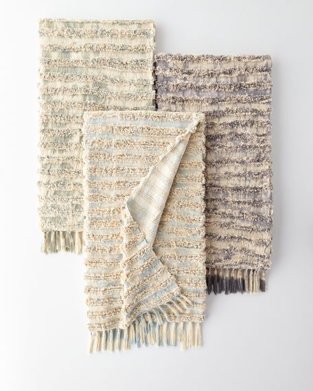 Tyra Throw with Tassels, Blue Pattern