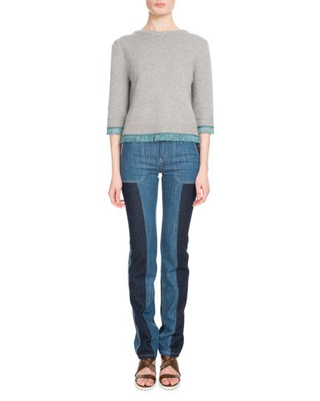3/4-Sleeve Scoop-Back Cashmere Sweater w/ Fringe Hem