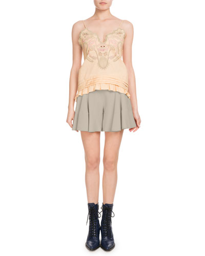 Sleeveless Thin-Strap Cotton Voile Top w/ Blossom Embroidery  and Matching Items