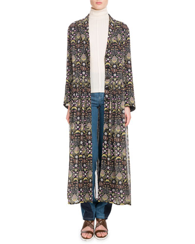 Long-Sleeve V-Neck Button-Front Blossom-Print Georgette Duster Jacket and Matching Items