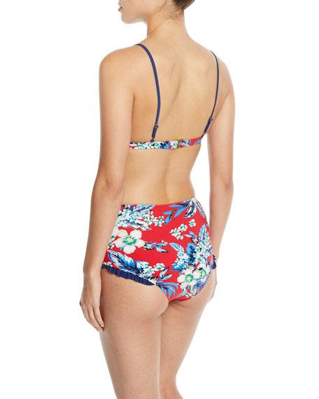 Floral-Print Ruffle Triangle Bikini Top