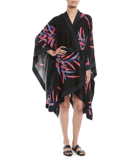 Printed Tie-Front Beach Kimono Coverup