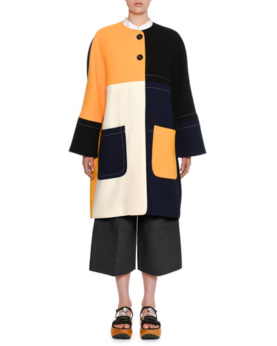 Colorblock Two-Button Double-Face Crepe Coat and Matching Items