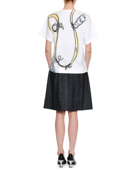 Ribbon & Charms Large-Print Cotton Crewneck T-Shirt