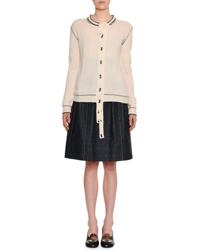 Button-Front Cashmere Cardigan w/ Varsity-Stitch Detail and Matching Items